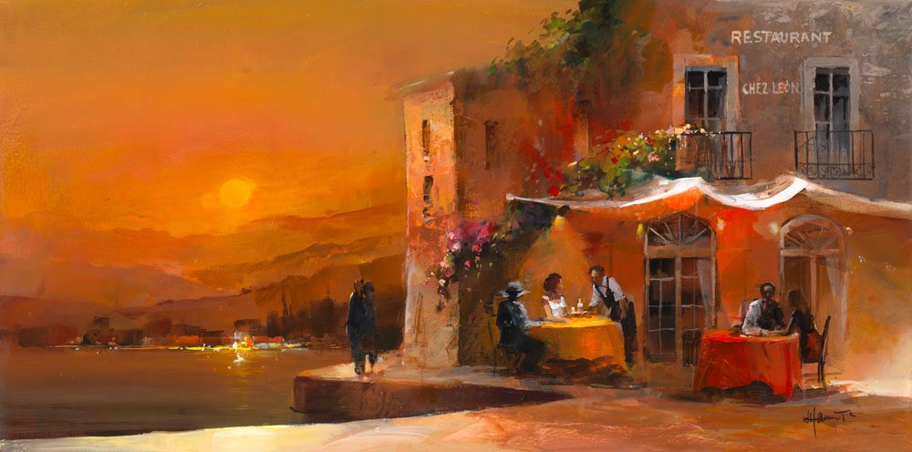 Painted canvas. Spanish restaurant with a romantic terrace version 2